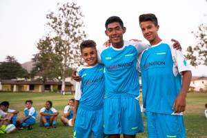 kids posing after a game